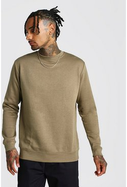 Khaki Basic sweatshirt i fleece med rund hals