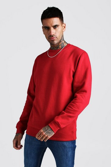 Mens Red Basic Crew Neck Fleece Sweatshirt