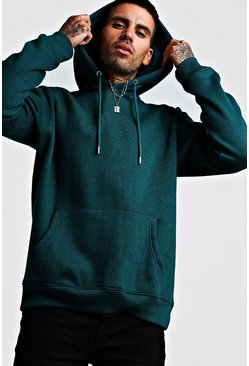Mens Teal Basic Over The Head Fleece Hoodie