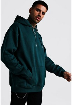 Mens Teal Fleece Oversized Over The Head Hoodie