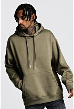 Herr Khaki Fleece Oversized Over The Head Hoodie