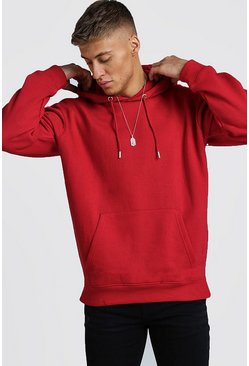 Mens Red Fleece Oversized Over The Head Hoodie