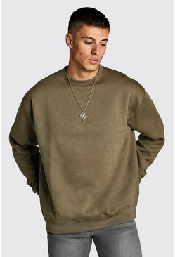 Khaki Oversize sweatshirt i fleece
