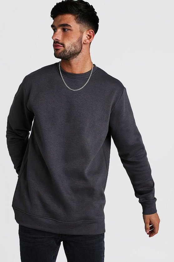 Charcoal Longline Crew Neck Fleece Sweatshirt