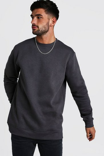 Mens Charcoal Longline Crew Neck Fleece Sweatshirt