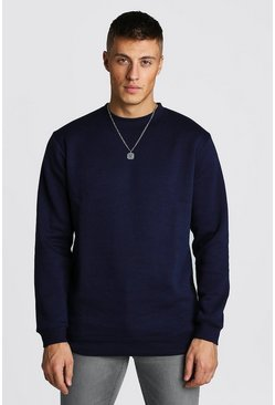 Mens Navy Longline Crew Neck Fleece Sweatshirt
