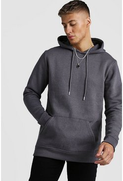 Mens Charcoal Longline Over The Head Fleece Hoodie
