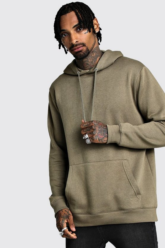 Khaki Longline Over The Head Fleece Hoodie