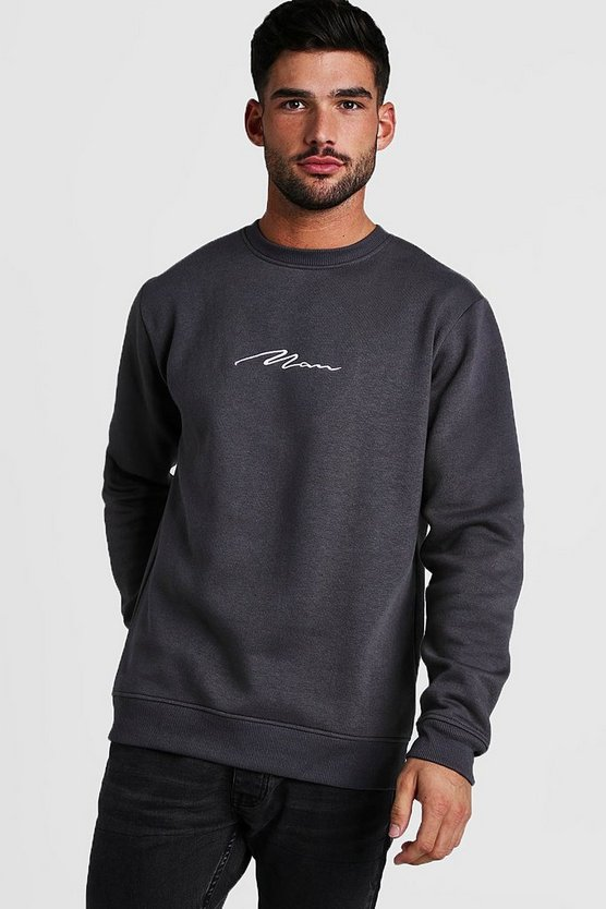 Mens Charcoal MAN Signature Crew Neck Fleece Sweatshirt