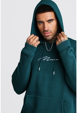 Teal MAN Signature Embroidered Hoodie