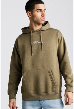 Khaki MAN Signature Loose Fit Over The Head Hoodie