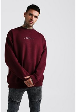 Mens Burgundy Oversized MAN Signature Fleece Sweatshirt