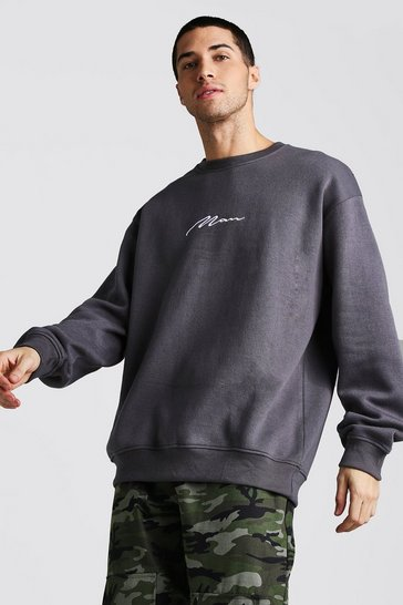 Mens Charcoal Oversized MAN Signature Fleece Sweatshirt