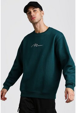 Herr Teal Oversized MAN Signature Fleece Sweatshirt
