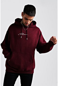Mens Burgundy MAN Signature Oversized Over The Head Hoodie