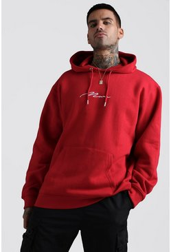 Mens Red MAN Signature Oversized Over The Head Hoodie