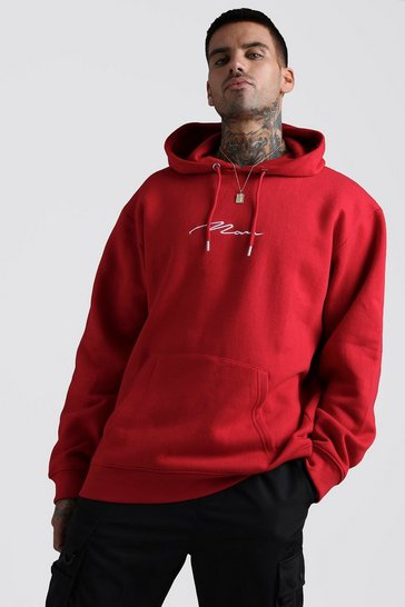 Red MAN Signature Oversized Over The Head Hoodie