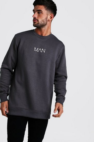 Mens Charcoal Original MAN Longline Fleece Sweatshirt