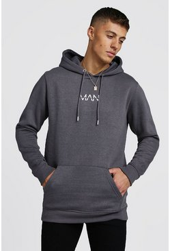 Mens Charcoal Original MAN Longline Oth Hoodie