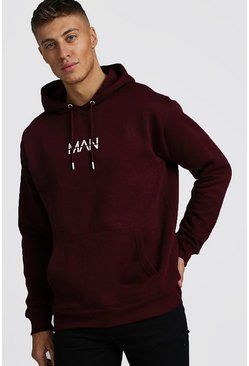 Mens Burgundy Original MAN Loose Fit Drop Shoulder Oth Hoodie