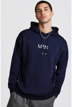 Mens Navy Original MAN Loose Fit Drop Shoulder Oth Hoodie