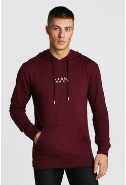 Mens Burgundy Original Man Muscle Fit Oth Hoodie