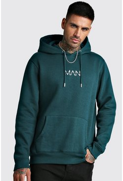 Mens Teal Original MAN Print Over The Head Hoodie