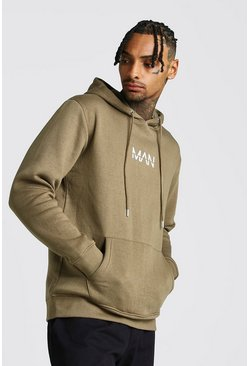Mens Khaki Original MAN Print Over The Head Hoodie