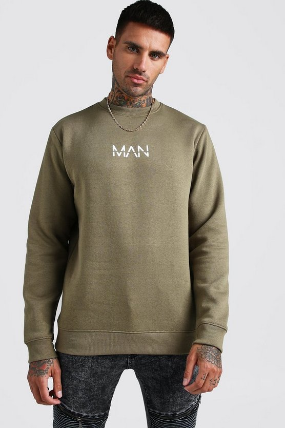 Khaki Original MAN Print Sweater