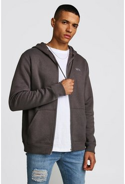 Mens Charcoal Original MAN Zip Through Fleece Hoodie
