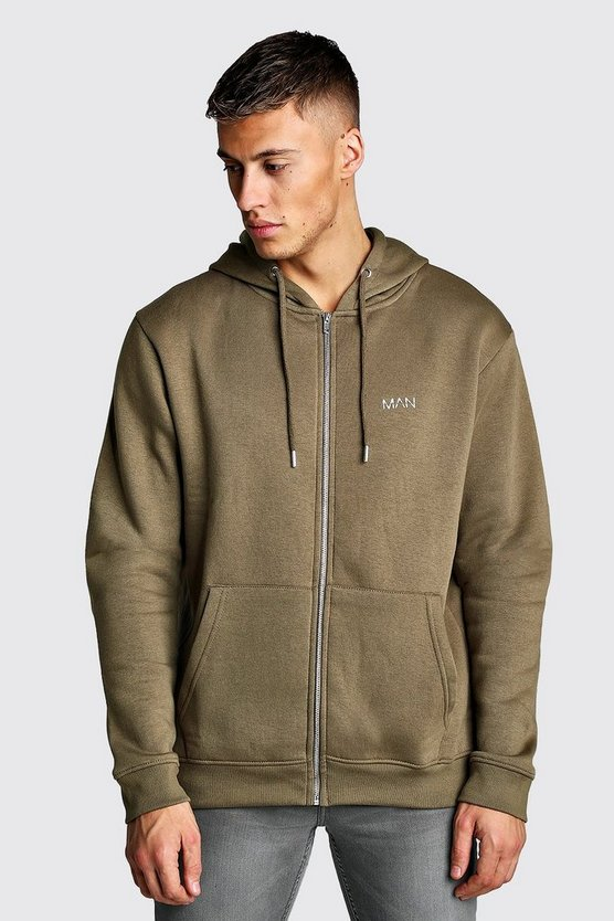 Khaki Original MAN Zip Through Fleece Hoodie