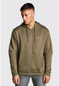 Mens Khaki Original MAN Zip Through Fleece Hoodie
