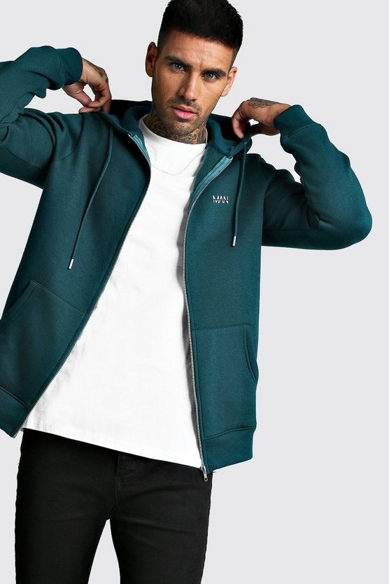 Teal Original MAN Zip Through Fleece Hoodie