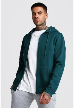 Herr Teal Zip Through Fleece Hoodie
