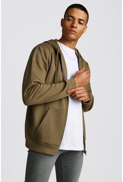 Khaki Zip Through Fleece Hoodie