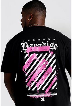 Black Big And Tall Paradise Graffiti Print T-Shirt