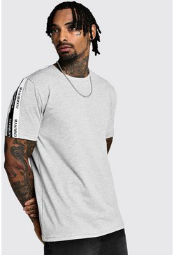 Mens Grey marl MAN Tape Crew Neck T-Shirt