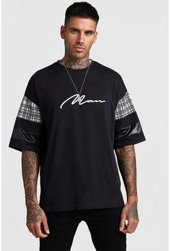 Mens Black Oversized MAN Signature T-Shirt With Check Panels