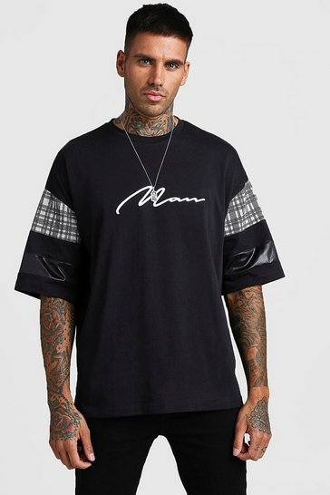 Black Oversized MAN Signature T-Shirt With Check Panels