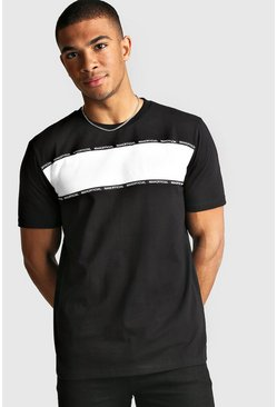 Mens Black MAN Official Colour Block T-Shirt With Tape