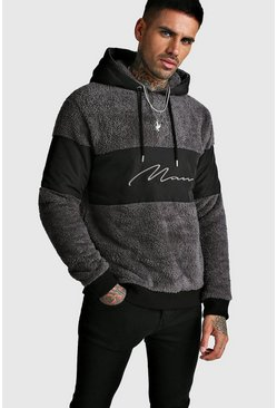 Mens Charcoal MAN Signature Colour Block Hoodie In Borg