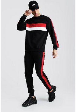 Black Sweater Tracksuit With Colour Block Side Panel