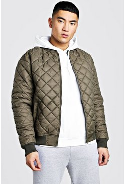 Nylon Diamond Quilted Bomber, Khaki