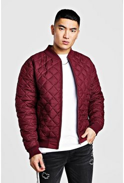 Burgundy Nylon Diamond Quilted Bomber