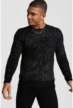 Mens Black Crew Neck Metallic Knitted Jumper