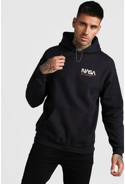 Herr Black NASA License Front & Back Print Hoodie