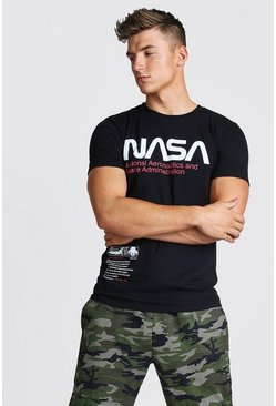 Herr Black NASA License Chest Print T-Shirt