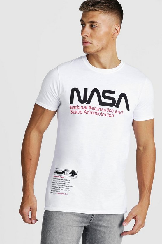Mens White NASA License Chest Print T-Shirt