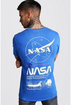 Mens Blue NASA License Front & Back Print T-Shirt