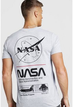 Mens Grey NASA License Front & Back Print T-Shirt
